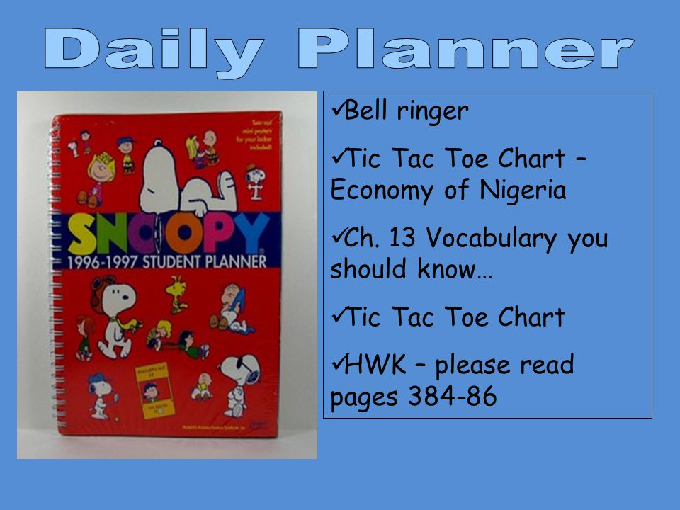 Daily Planner Bell ringer Tic Tac Toe Chart – Economy of Nigeria
