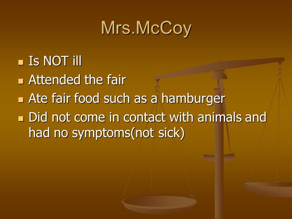 Mrs.McCoy Is NOT ill Attended the fair