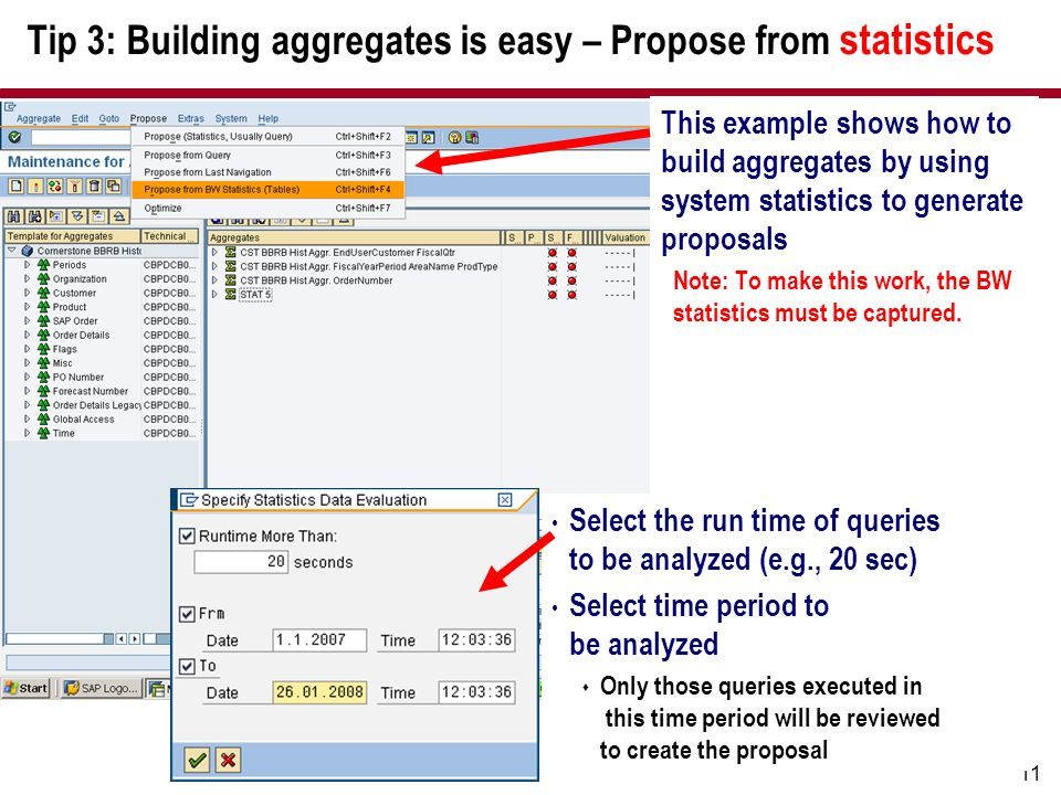 Tip 3: Building aggregates is easy – Propose from statistics