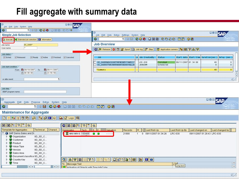 Fill aggregate with summary data