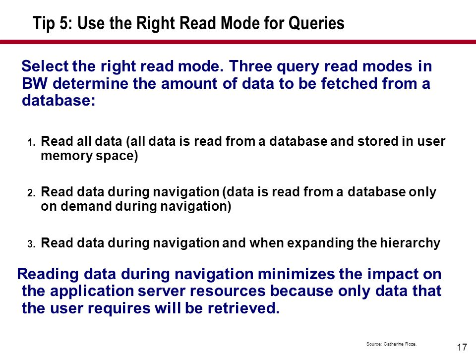 Tip 5: Use the Right Read Mode for Queries