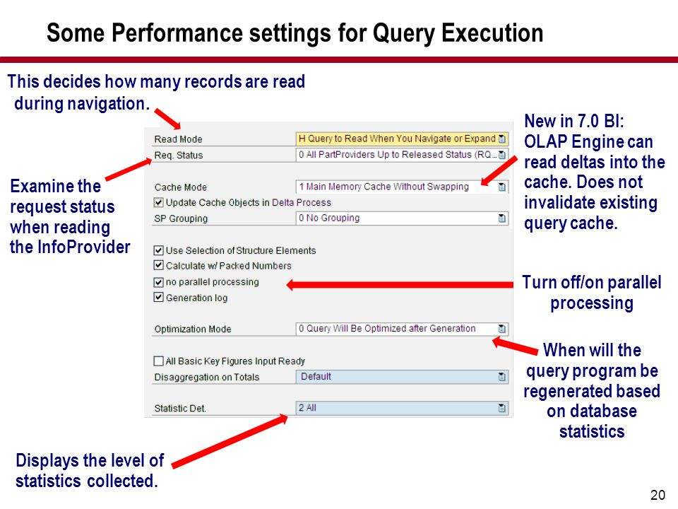 Some Performance settings for Query Execution