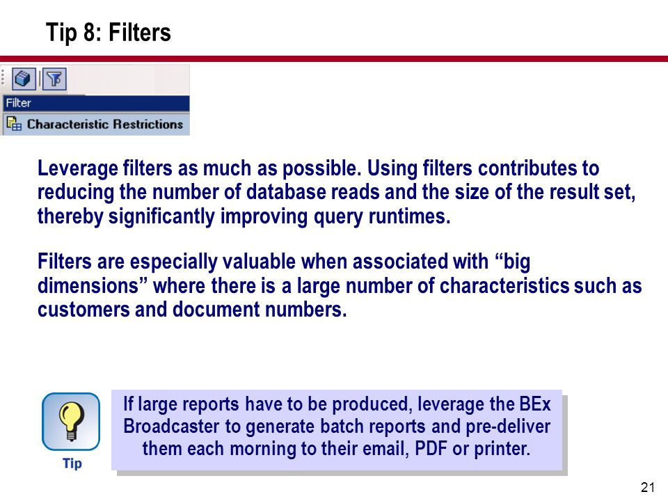 Tip 8: Filters