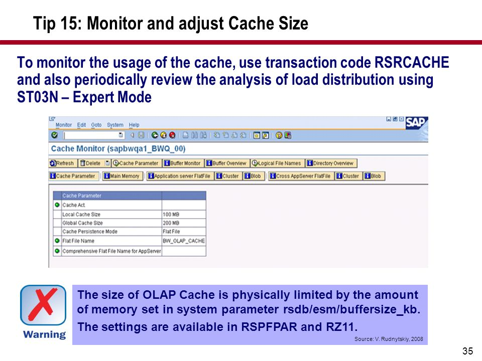 Tip 15: Monitor and adjust Cache Size