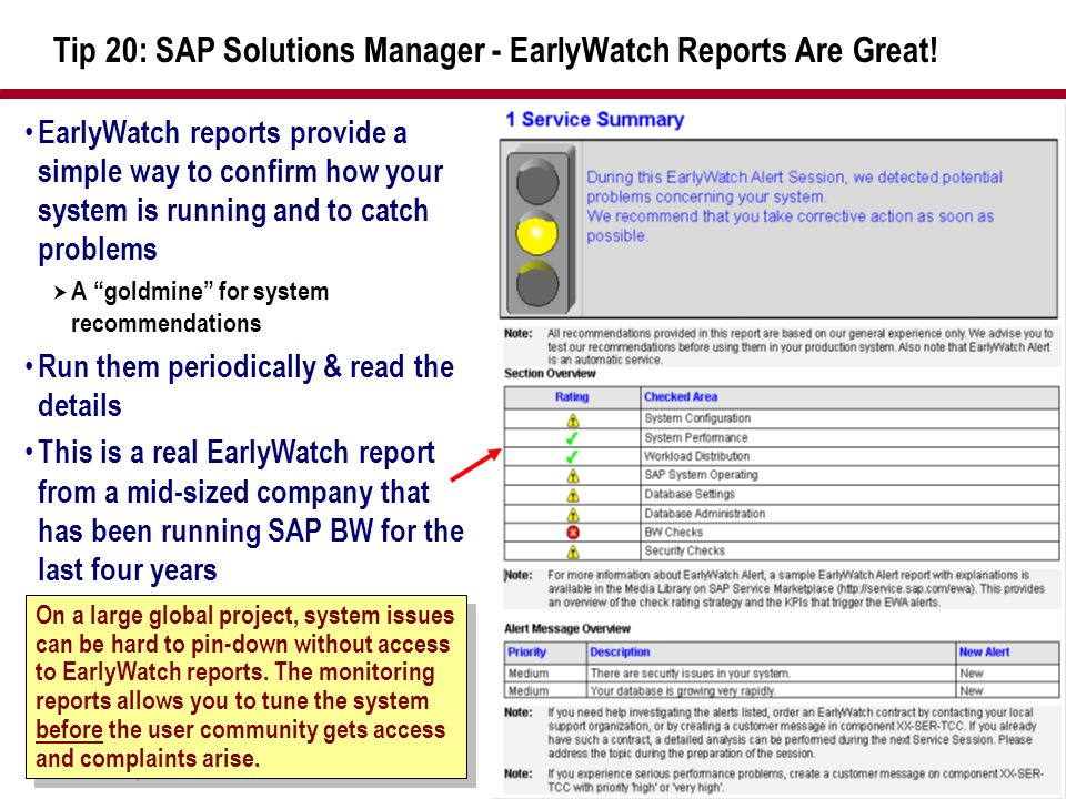 Tip 20: SAP Solutions Manager - EarlyWatch Reports Are Great!