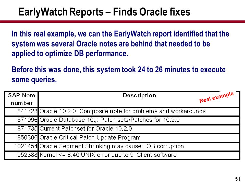 EarlyWatch Reports – Finds Oracle fixes