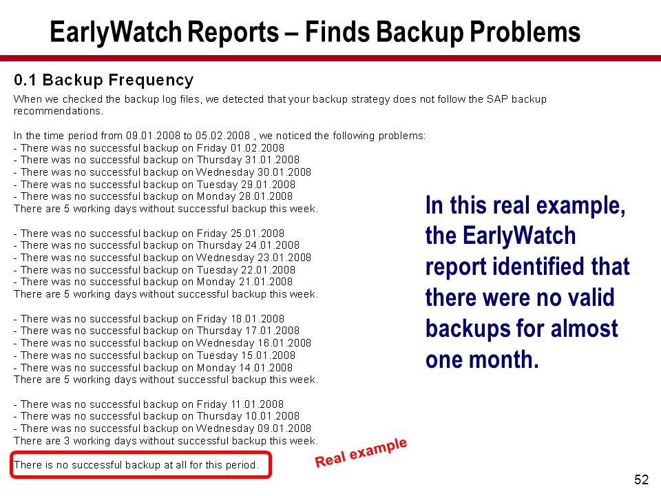EarlyWatch Reports – Finds Backup Problems