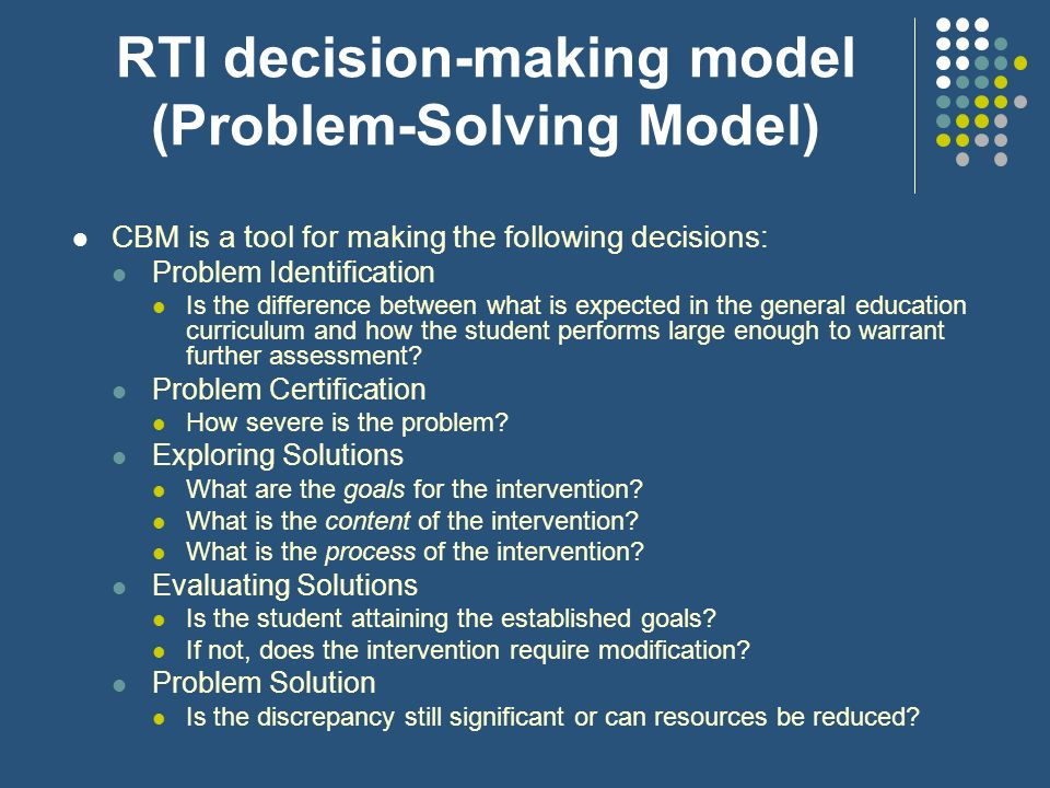 RTI decision-making model (Problem-Solving Model)
