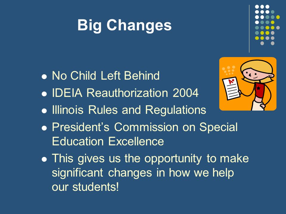 Big Changes No Child Left Behind IDEIA Reauthorization 2004