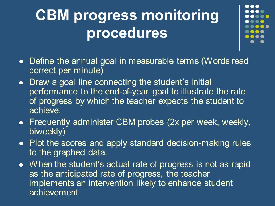 CBM progress monitoring procedures