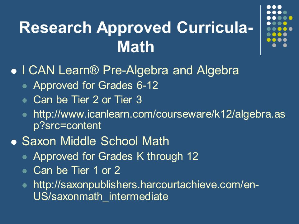 Research Approved Curricula- Math