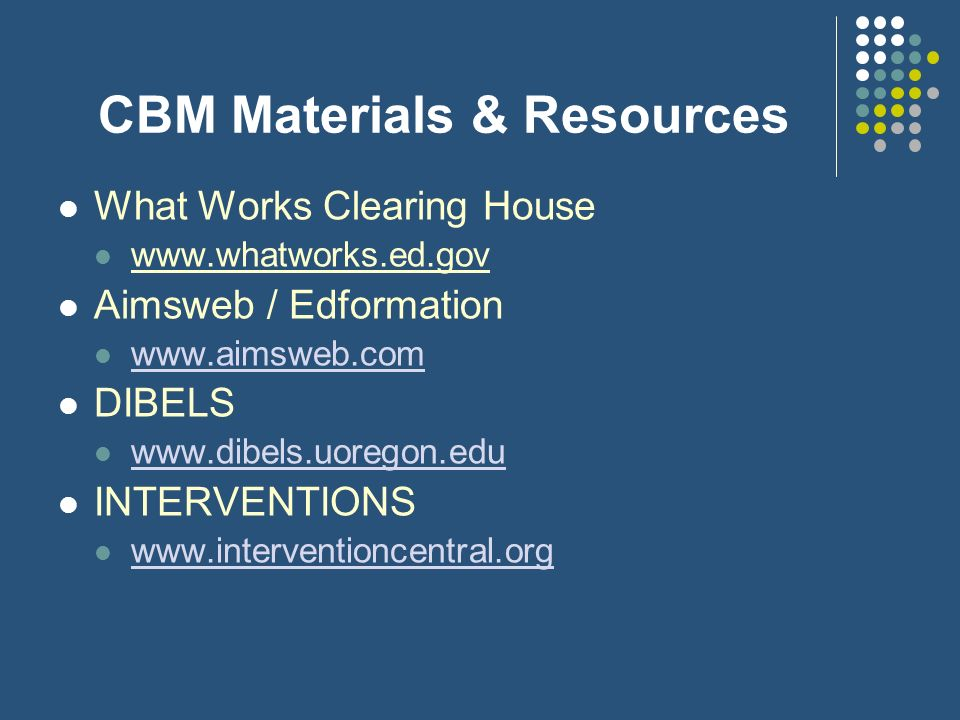 CBM Materials & Resources