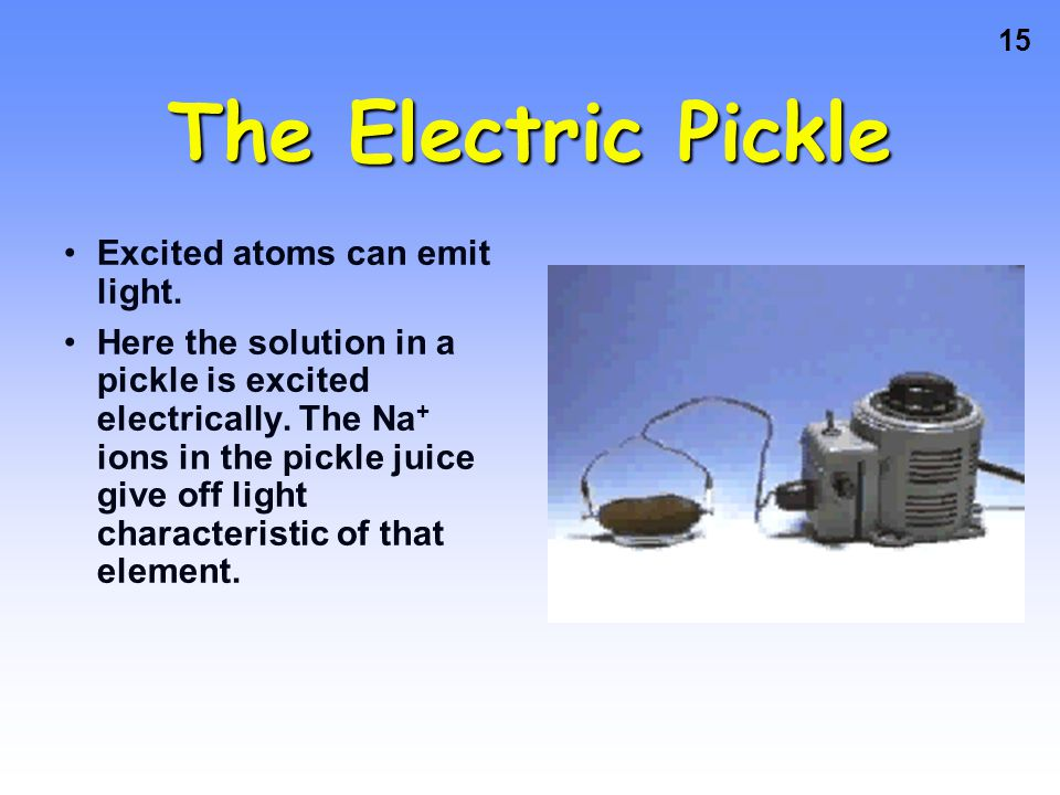 The Electric Pickle Excited atoms can emit light.