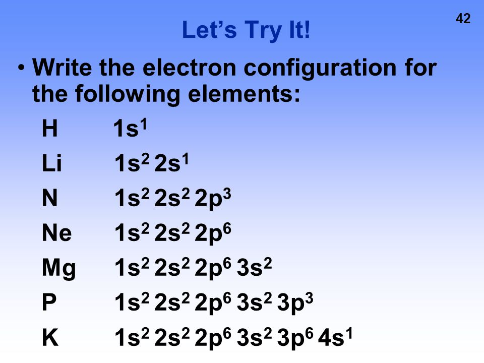 Let's Try It! Write the electron configuration for the following elements: H 1s1. Li 1s2 2s1.