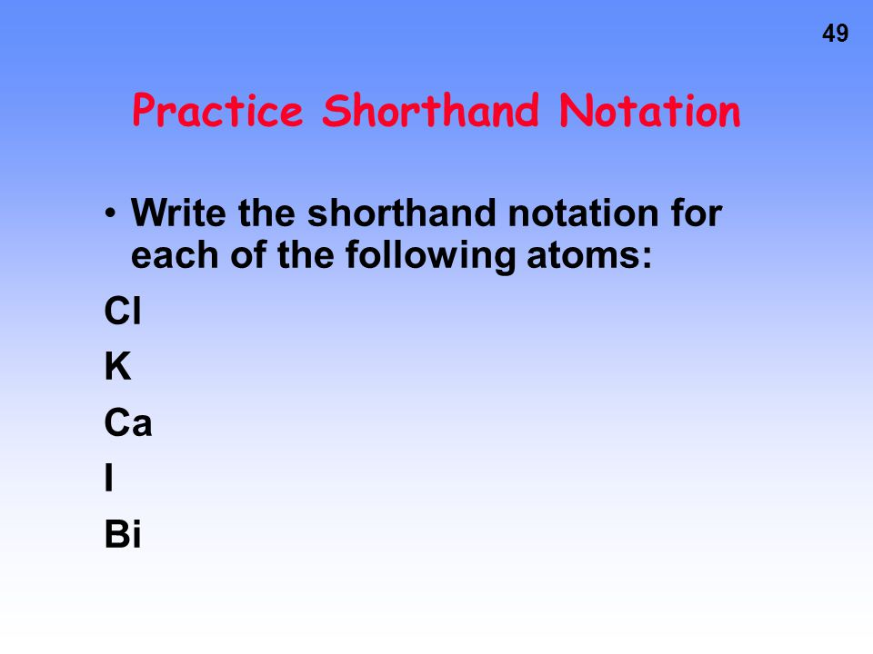 Practice Shorthand Notation