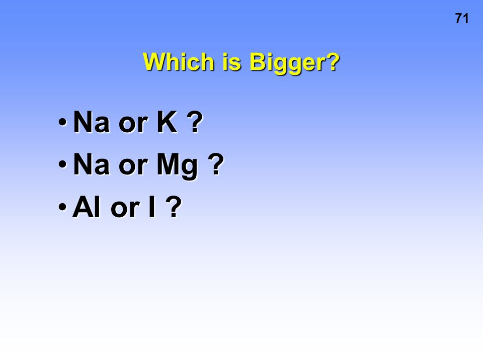 Which is Bigger Na or K Na or Mg Al or I