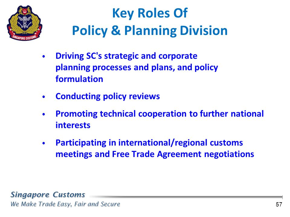 Key Roles Of Policy & Planning Division