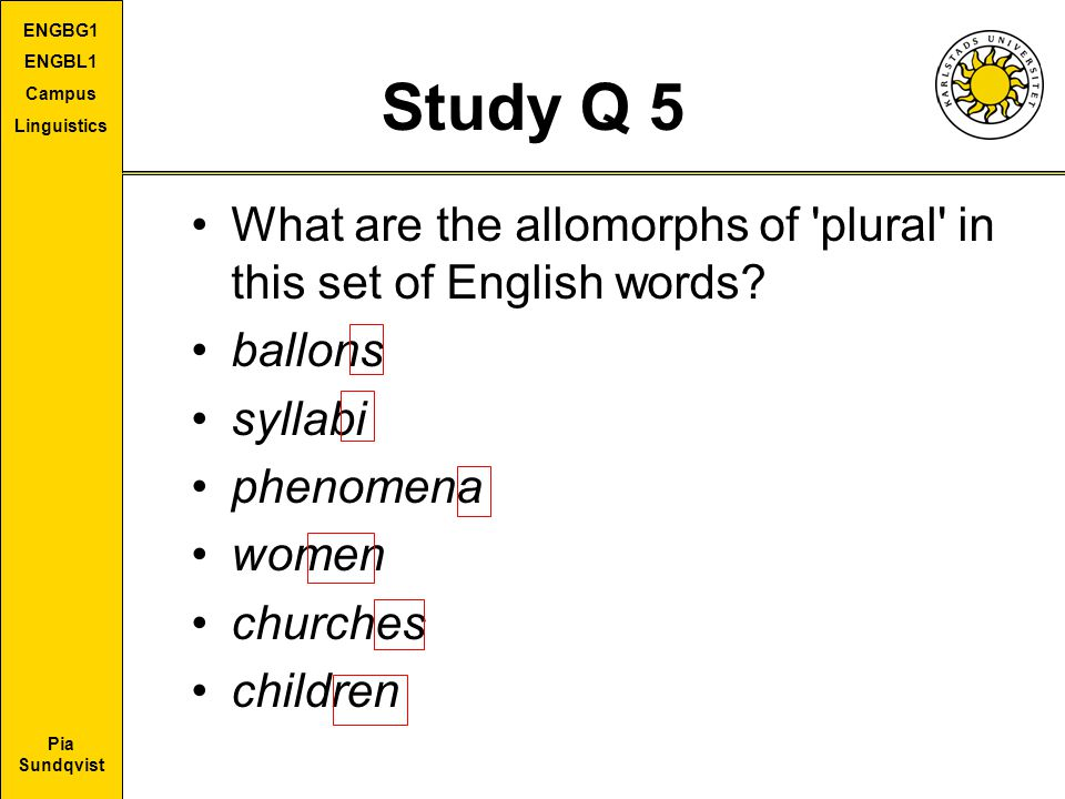 Study Q 5 What are the allomorphs of plural in this set of English words ballons. syllabi. phenomena.