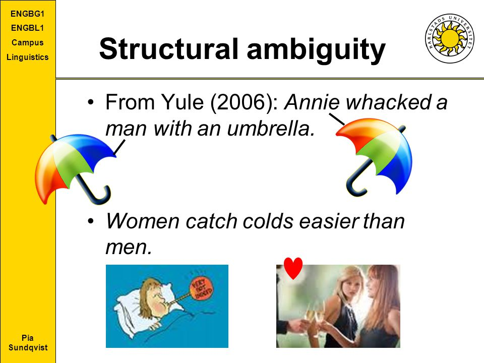 Structural ambiguity From Yule (2006): Annie whacked a man with an umbrella.