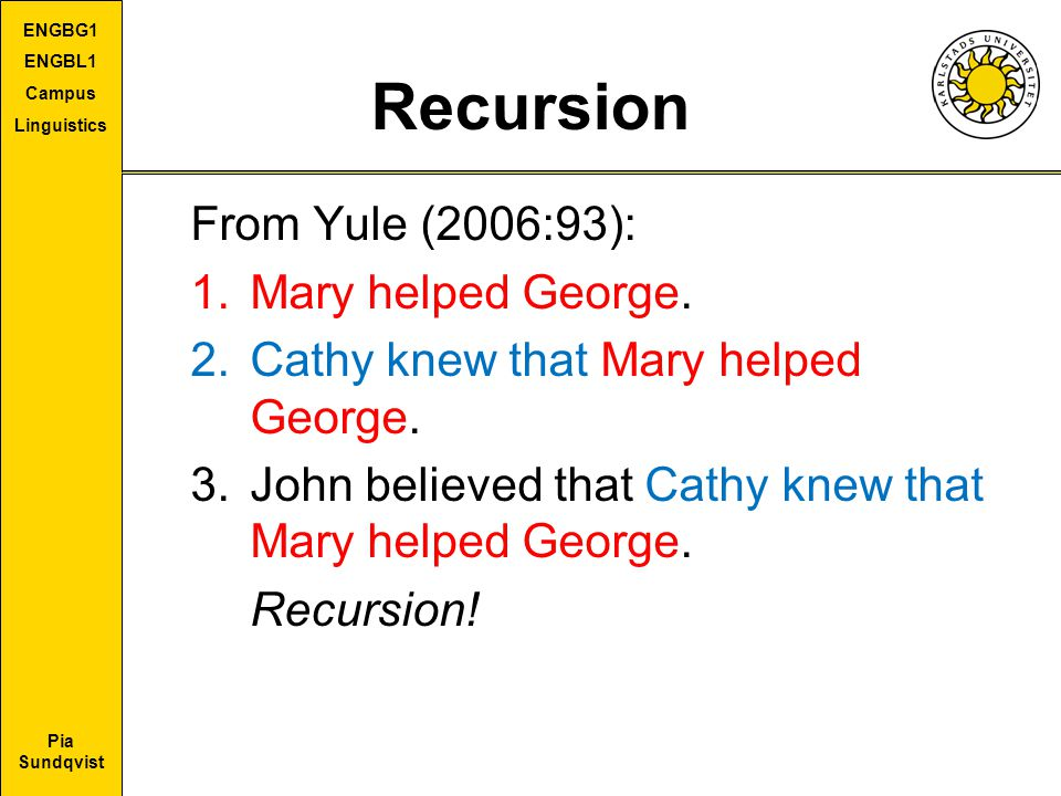Recursion From Yule (2006:93): Mary helped George.