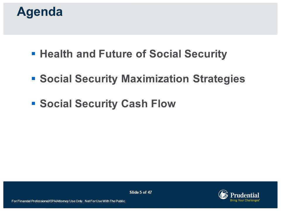 Agenda Health and Future of Social Security