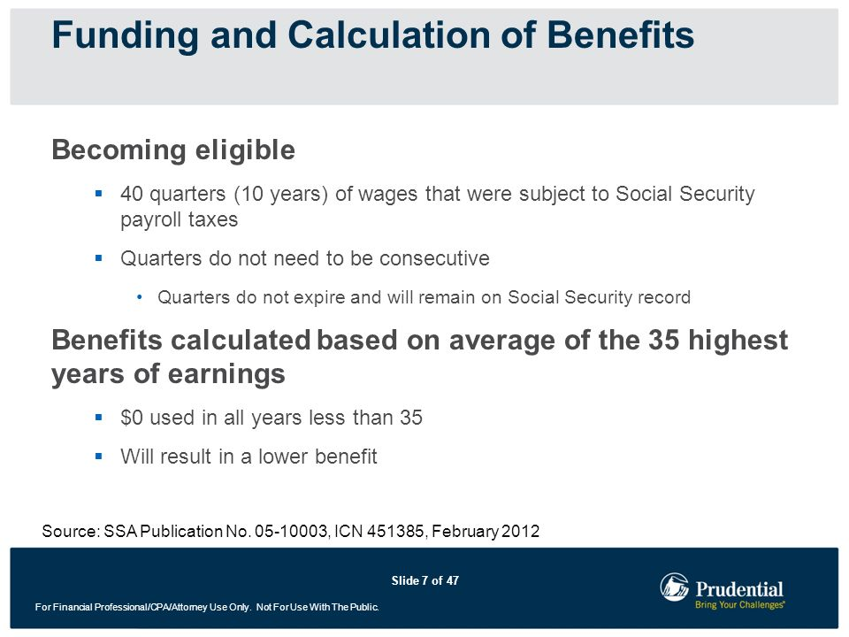 Funding and Calculation of Benefits