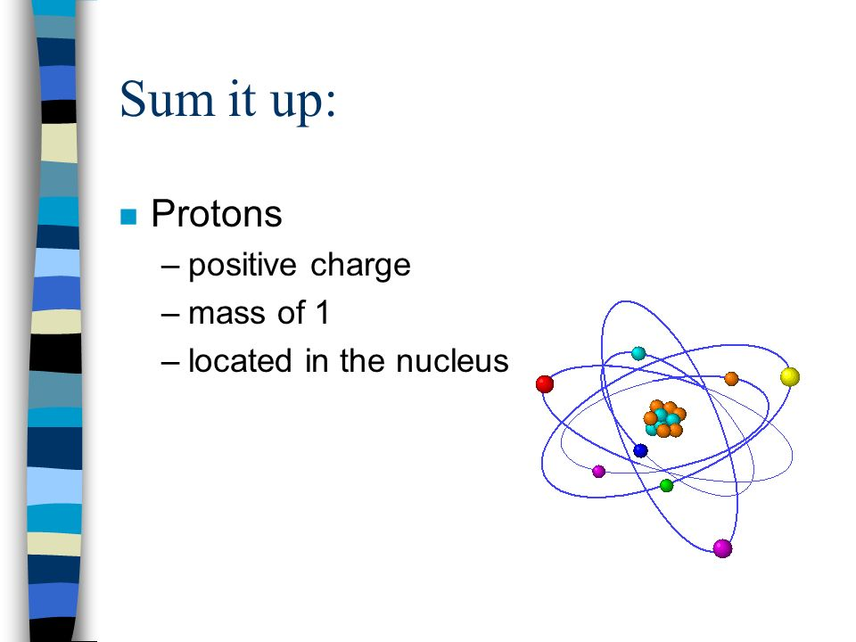 Sum it up: Protons positive charge mass of 1 located in the nucleus