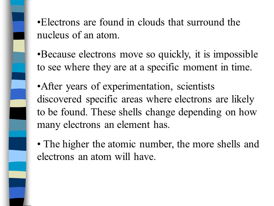 Electrons are found in clouds that surround the nucleus of an atom.