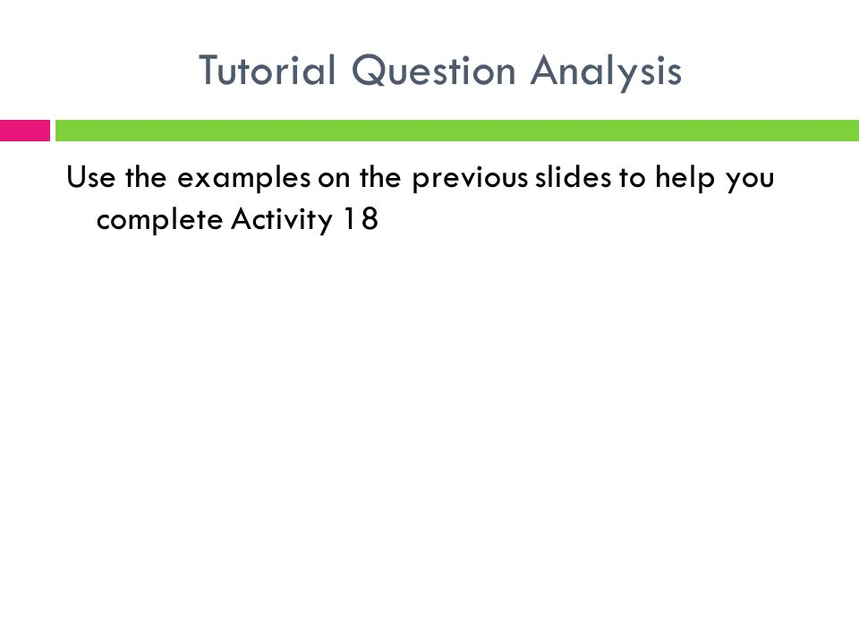 Tutorial Question Analysis