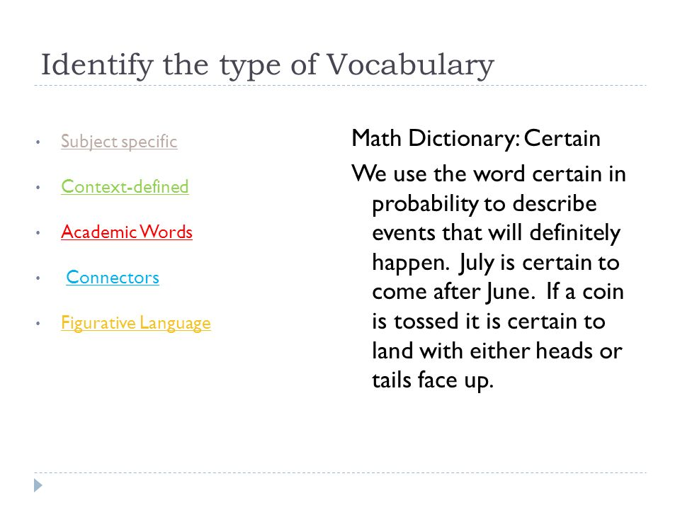 Identify the type of Vocabulary
