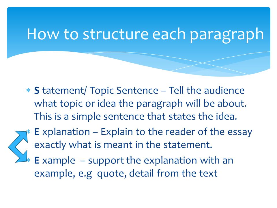 How to structure each paragraph