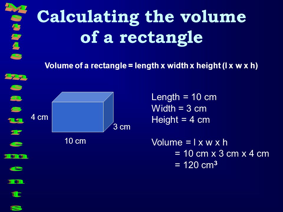 Calculating the volume of a rectangle