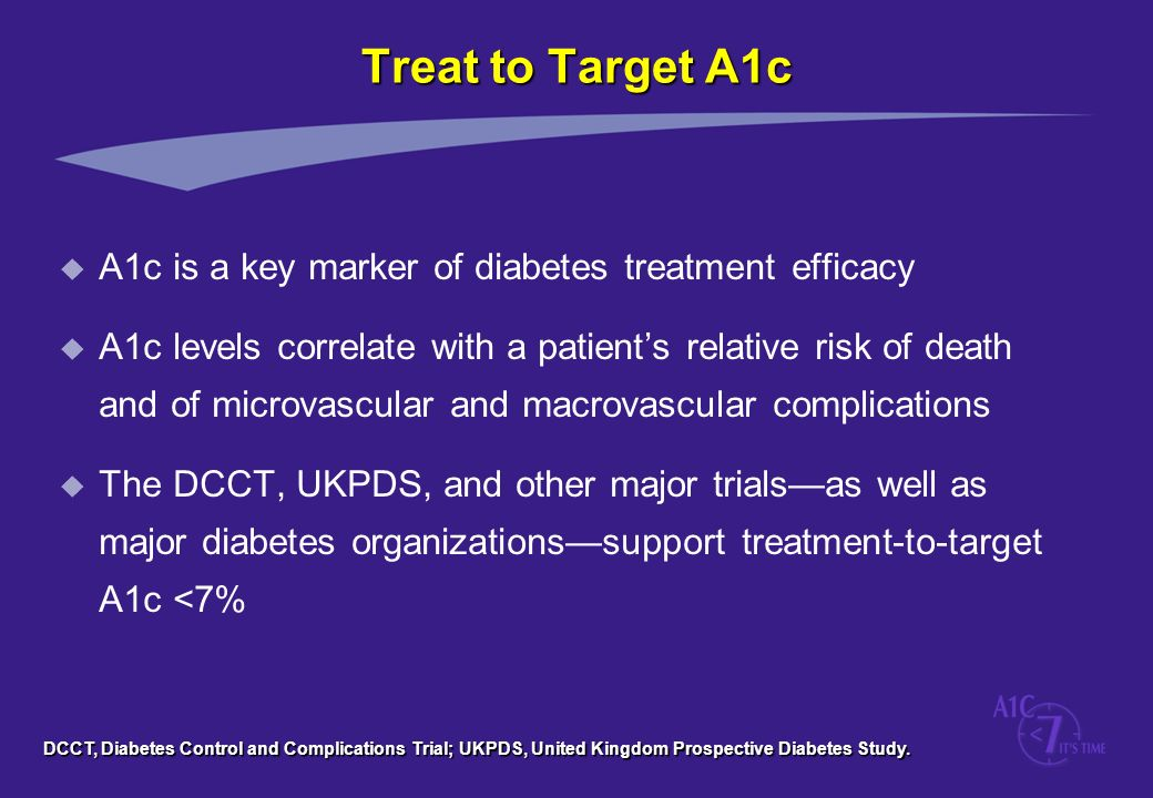 Treat to Target A1c A1c is a key marker of diabetes treatment efficacy