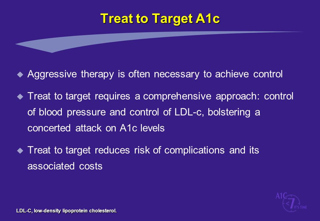 Treat to Target A1c Aggressive therapy is often necessary to achieve control.