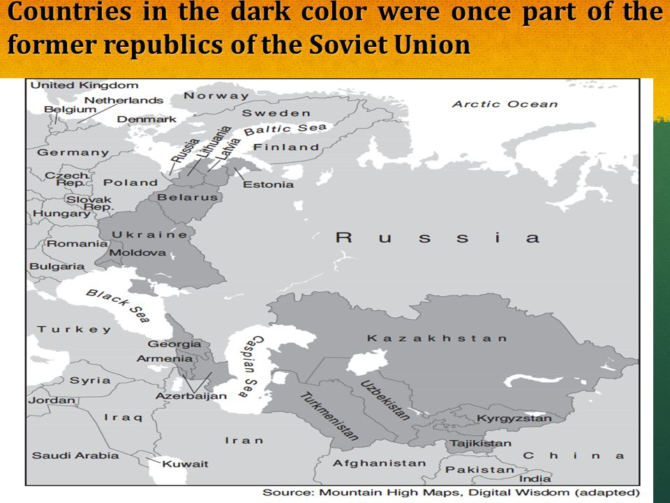 Countries in the dark color were once part of the former republics of the Soviet Union