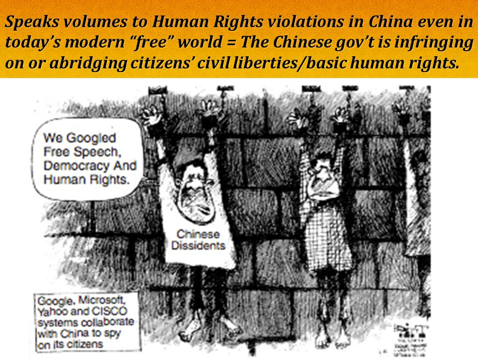 Speaks volumes to Human Rights violations in China even in today's modern free world = The Chinese gov't is infringing on or abridging citizens' civil liberties/basic human rights.
