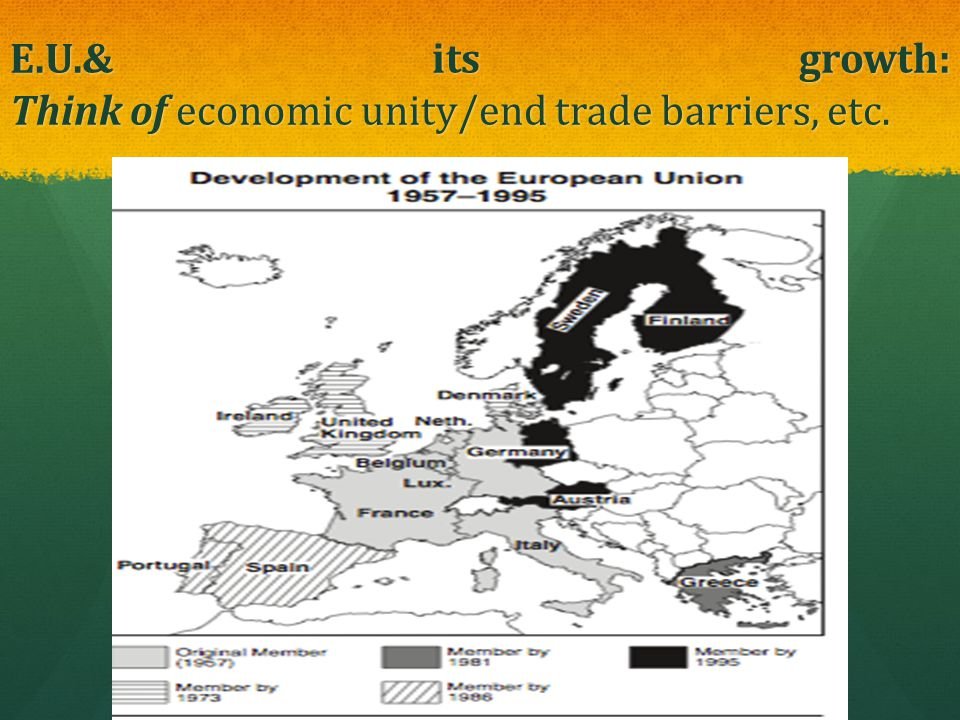 E.U.& its growth: Think of economic unity/end trade barriers, etc.