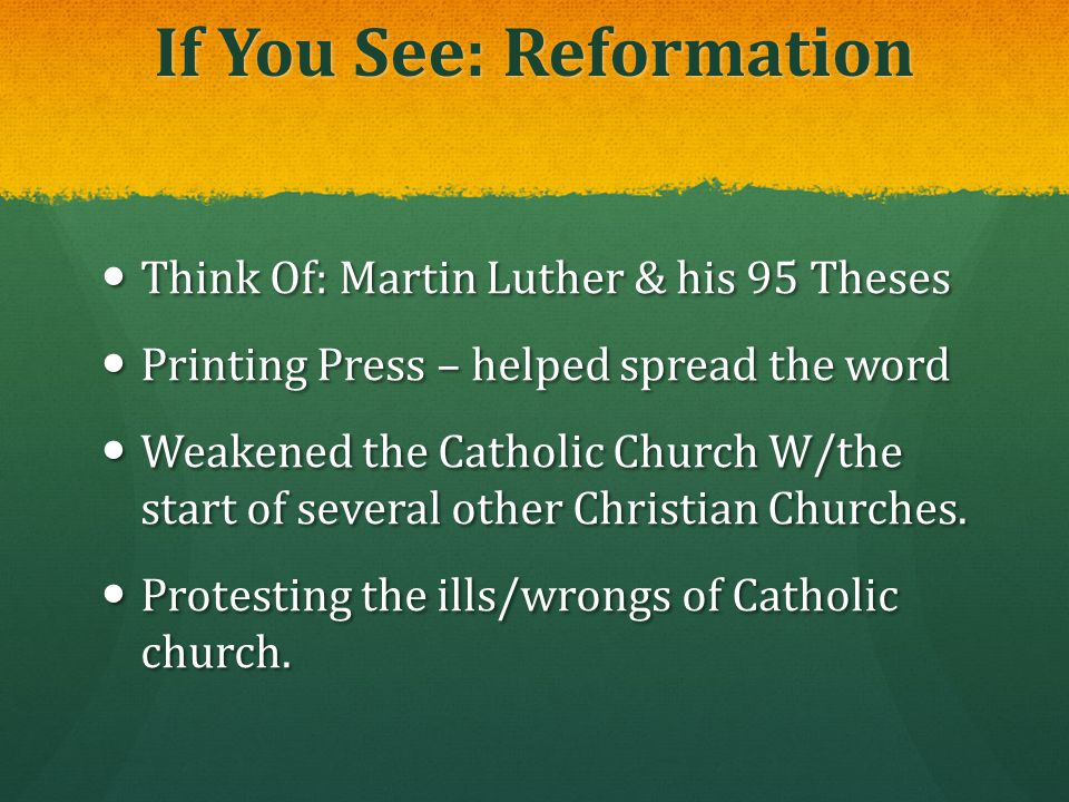 If You See: Reformation