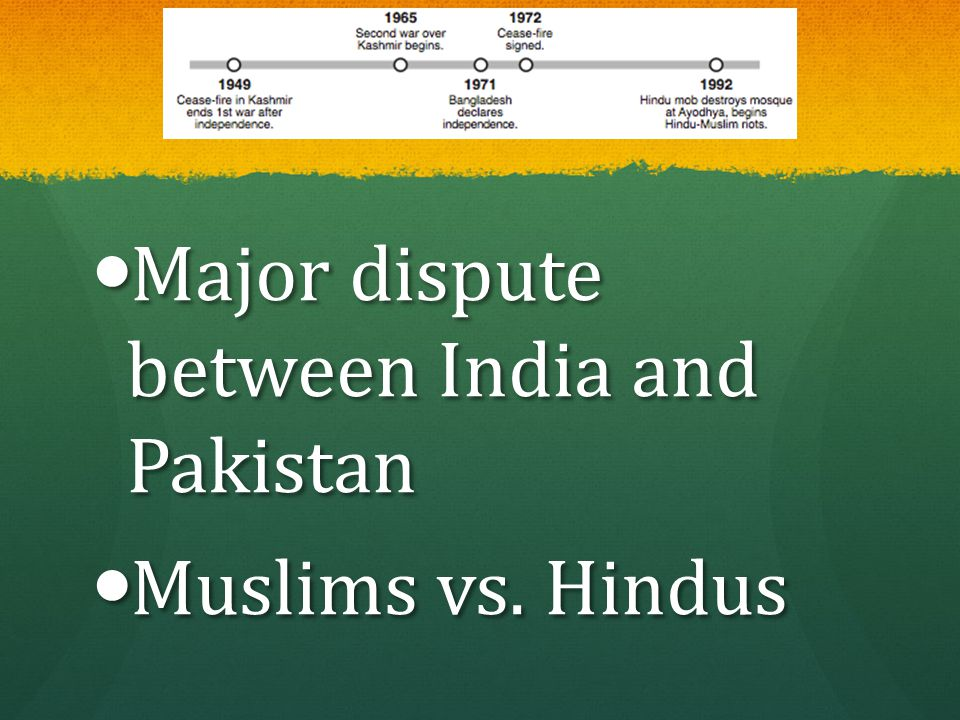 Major dispute between India and Pakistan