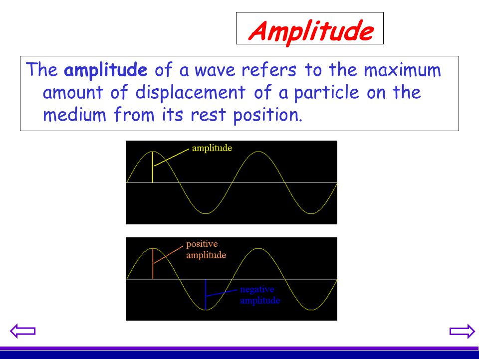Amplitude The amplitude of a wave refers to the maximum amount of displacement of a particle on the medium from its rest position.