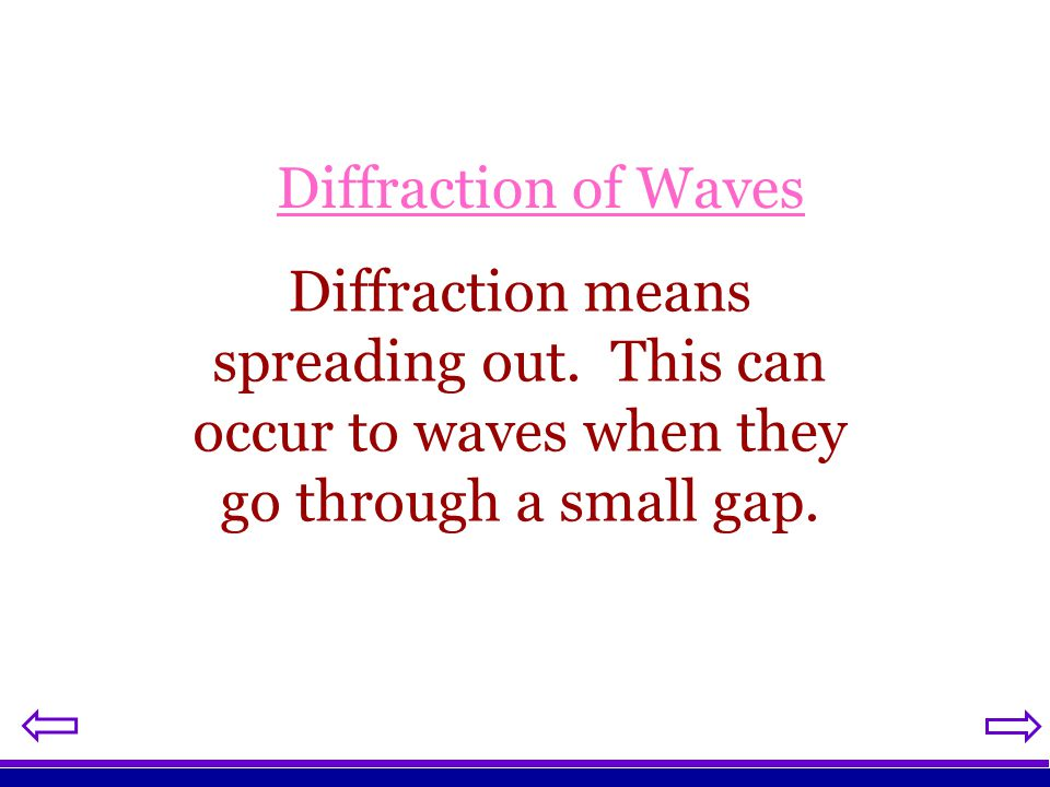 Diffraction of Waves Diffraction means spreading out.