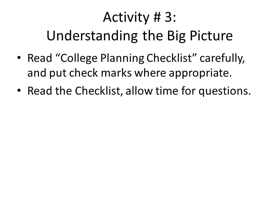 Activity # 3: Understanding the Big Picture