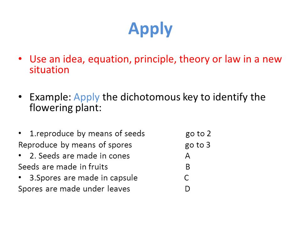 Apply Use an idea, equation, principle, theory or law in a new situation. Example: Apply the dichotomous key to identify the flowering plant: