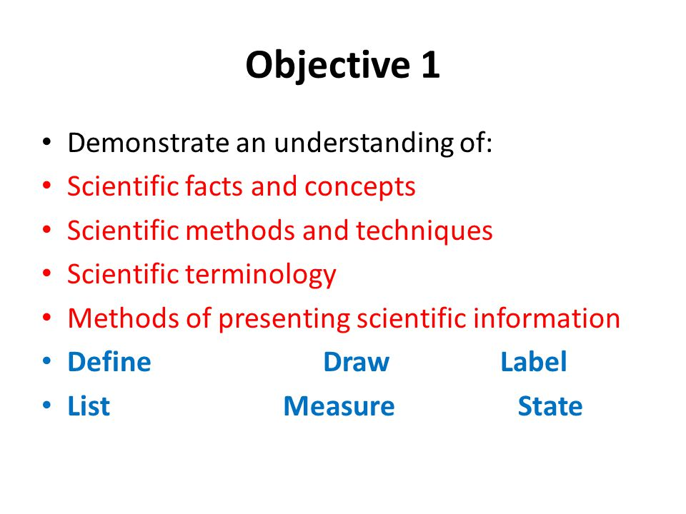 Objective 1 Demonstrate an understanding of: