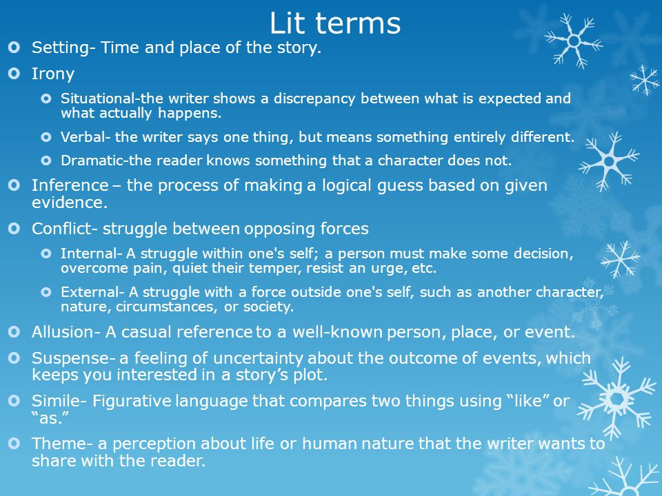 Lit terms Setting- Time and place of the story. Irony