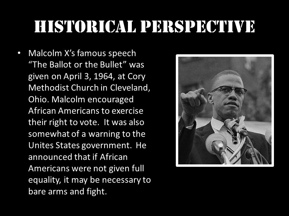 comparison between i have a dream and the ballot or the bullet An essay on the speech of martin luther king, i have a dream and the ballot or the bullet by malcolm x the differences and similiraties of these two speeches martin l king and malcolm x martin luther king jr and malcolm x were raised in different environments.