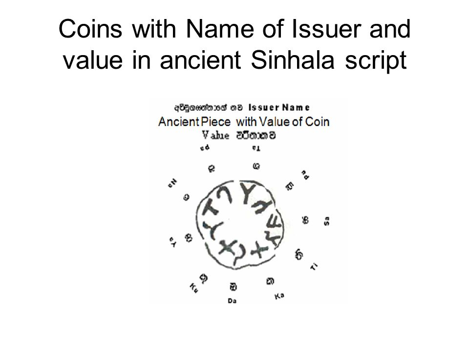 Coins with Name of Issuer and value in ancient Sinhala script