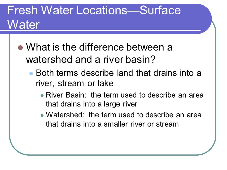 Fresh Water Locations—Surface Water