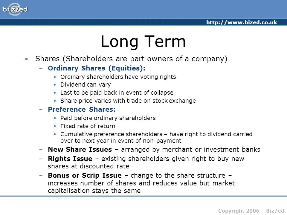 Long Term Shares (Shareholders are part owners of a company)