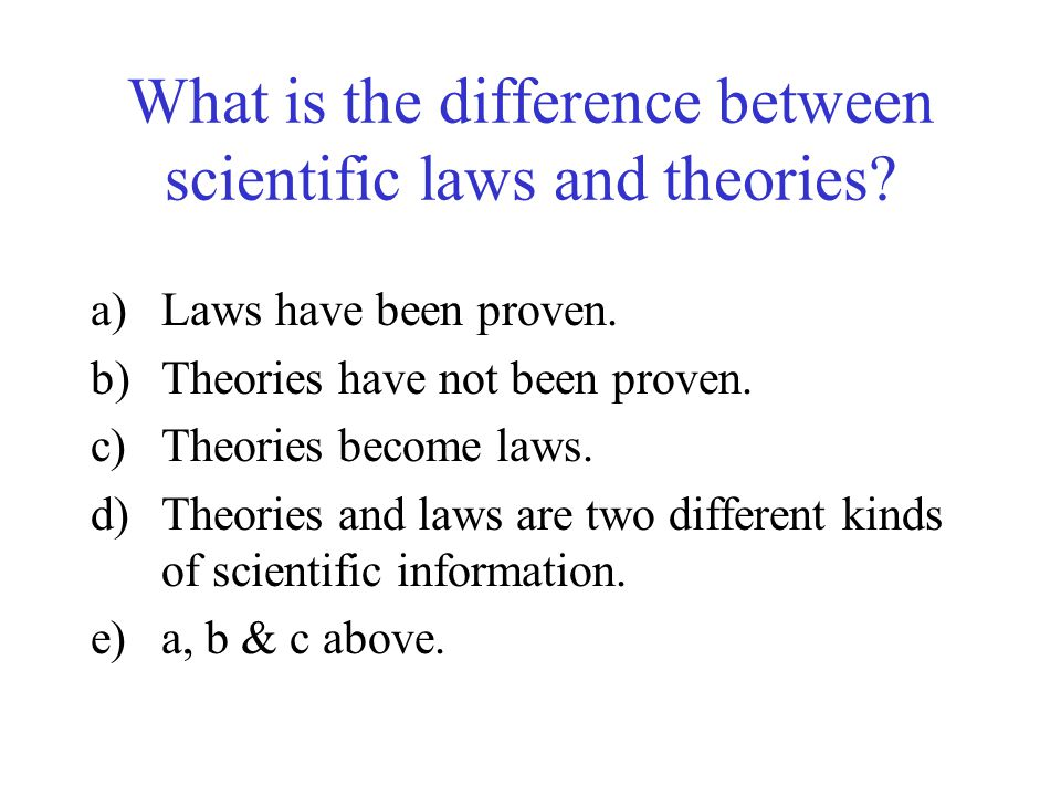 What is the difference between scientific laws and theories